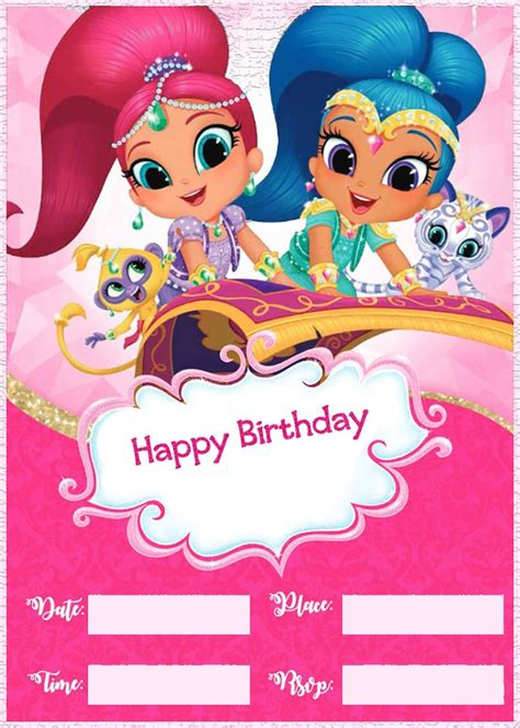 shimmer  shine birthday party invitation template