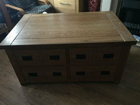 If you have kids, this table will take a beating. Apothecary style multi drawer solid oak coffee table | in Gorton, Manchester | Gumtree