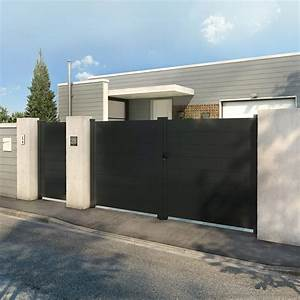 Portail En Aluminium : portail battant aluminium avignon gris cm x ~ Melissatoandfro.com Idées de Décoration