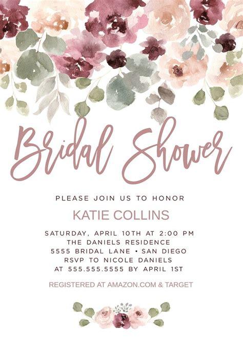 dusty rose bridal shower invitation invite mauve pink