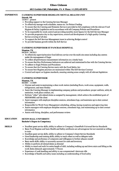 Catering Resume by Catering Supervisor Resume Sles Velvet