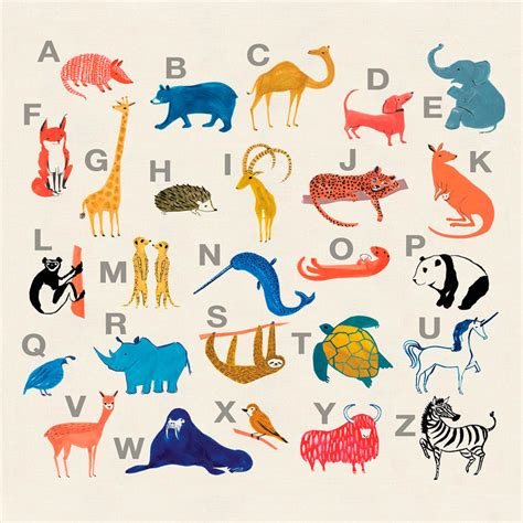 colorful animal alphabet alphabet numbers posters
