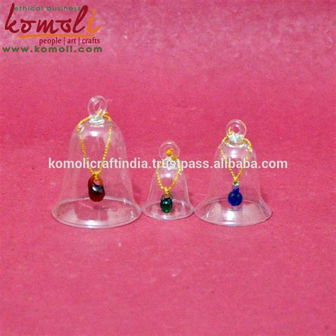diy new trendy plain transparent blown working glass ornament christmas glass bell wholesale