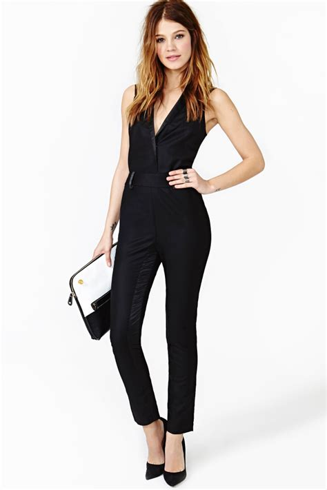 black jumpsuit for wedding gal black tie jumpsuit in black lyst