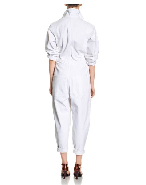 white denim jumpsuit cynthia rowley denim jumpsuit in white lyst