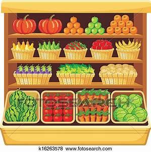 Clip Art of Supermarket. Vegetables and fruits. k16263578 ...