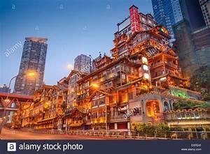 Chongqing, China at Hongyadong traditional district Stock ...