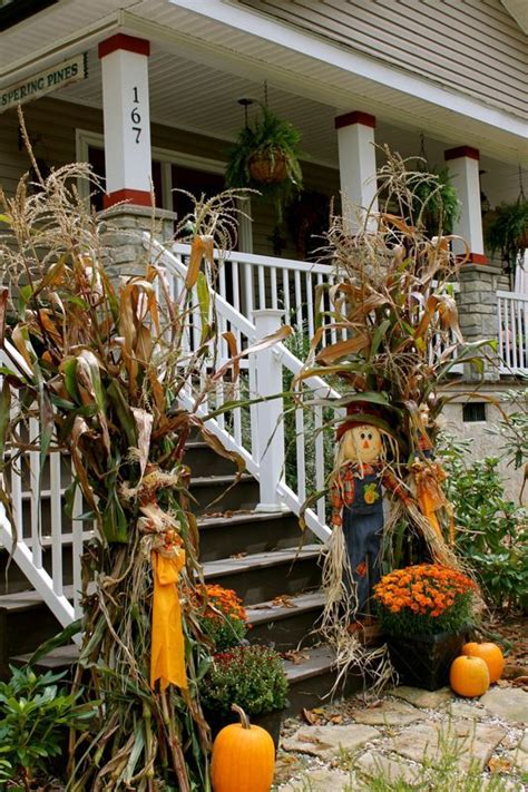 beautiful fall decorations   dried corn  corn stalks rustic country garden fall