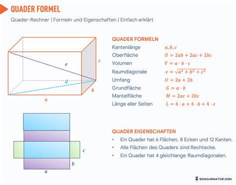 quader  berechnen volumen oberflaeche raumdiagonale