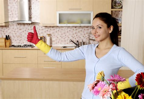 Beautiful Attractive Women Cleaning The House Stock Image