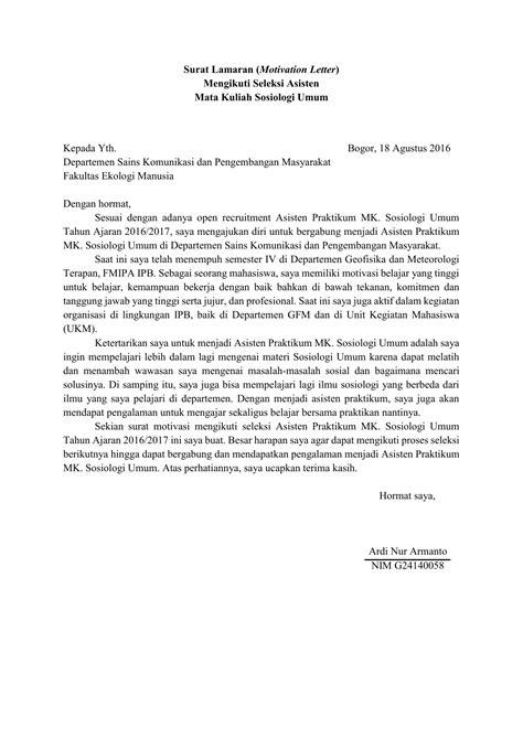 contoh surat motivasi  melamar kerja kumpulan surat