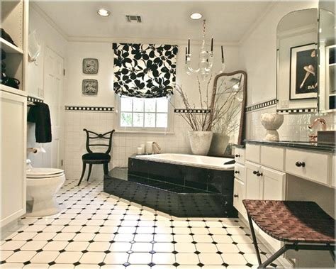 Black And White Tiles Bathroom Floor With Creative Image