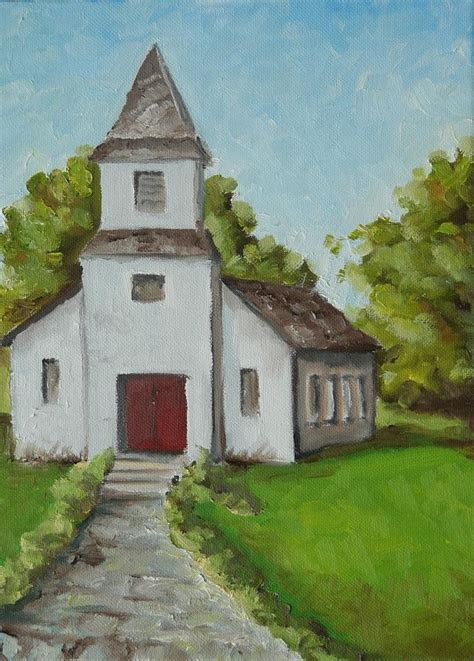 Old White Church In The Texas Hill Country Painting By Amy