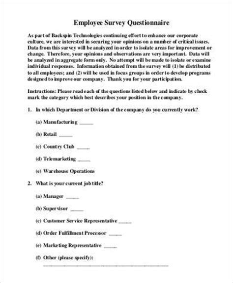 Sample Employee Survey Forms  8+ Free Documents In Word, Pdf. Set The Timer For 5 Minutes Template. Consignment Agreement Definition. Letter Of Interest Template Microsoft Word. What Questions To Ask In Interview Template. Template For Certificate Of Award Template. Warning Letter For Inappropriate Behavior. Large Monthly Calendar Template. Free Tree Service Invoice Template