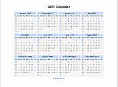 2027 Calendar Blank Printable Calendar Template in PDF