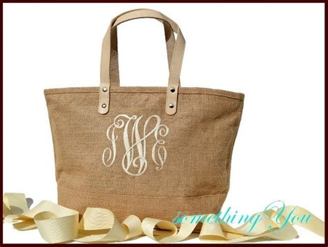 monogram jute tote bag personalized natural