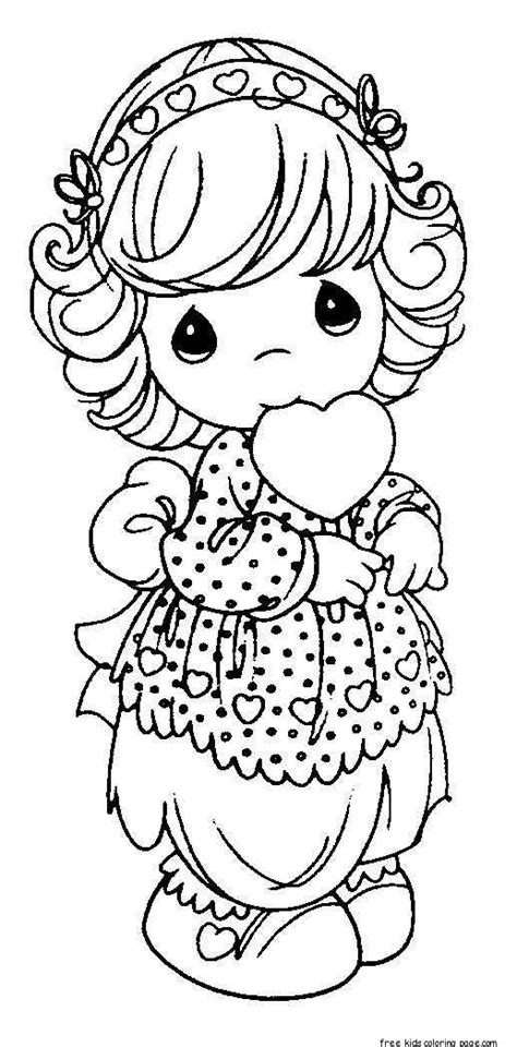 precious moments girls smile  heart coloring pages  printable coloring pages  kids