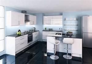 armoires de cuisine blanches avec quels murs et credence With cuisine blanche et bleu
