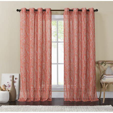 single  coral  gray window curtain panel wide    sheer silver grommets branch