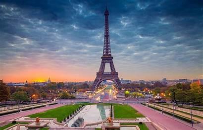 Paris Tower Eiffel France Panorama Dawn Desktop