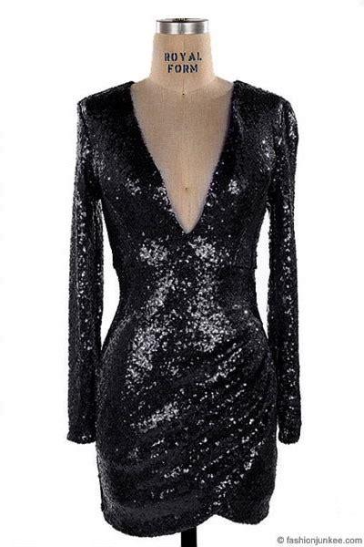 sequin long sleeve  cut  neck mini dress black