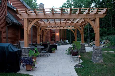 Home Patios Photo Gallery by Custom Home Timber Frame Contemporary Patio