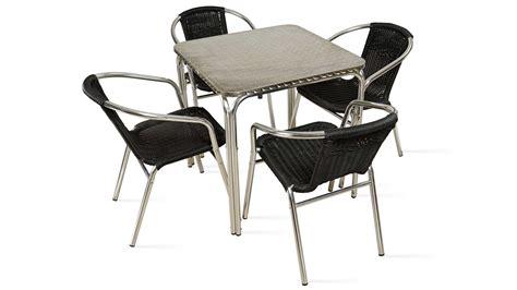 chaise salon de jardin table et chaises de terrasse 4 personnes alu et résine