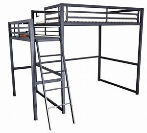 Lit En Metal 140x190 : lit mezzanine 2 places m tal noir 140 ultramat ~ Teatrodelosmanantiales.com Idées de Décoration