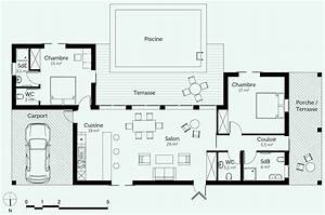 Plan Maison U : plan maison plain pied 4 chambres avec suite parentale ~ Dallasstarsshop.com Idées de Décoration