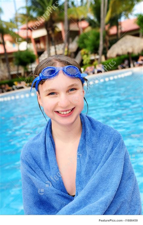 Teenage Girl At Swimming Pool Stock Picture I1686459 At Featurepics