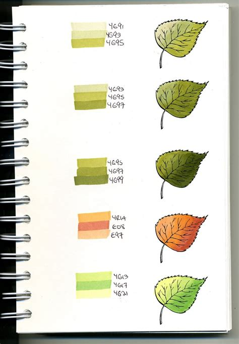 Coloring Techniques by Copic Swatch Book Leaves Bjl Coloring Copic