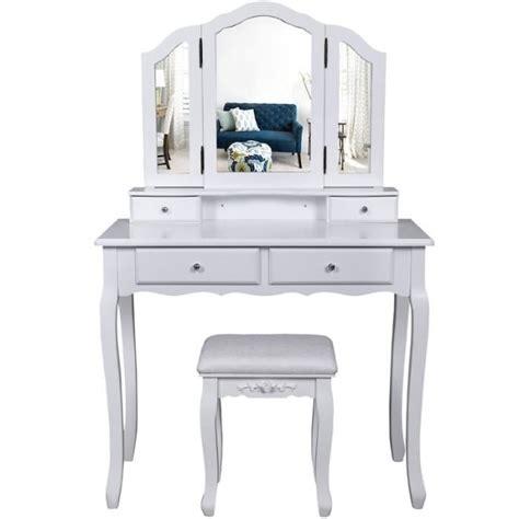 siege coiffeuse coiffeuse bois avec 3 miroirs 4 tiroirs et tabouret table