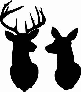 Buck and Doe Deer silhouette Stencil overall size approx 16