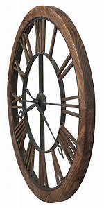 Contemporary Oversized Wood Frame Metal Roman Numeral Wall