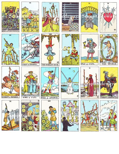 Maybe you would like to learn more about one of these? Set of 78 Rider Waite Tarot Cards Digital Collage Sheet