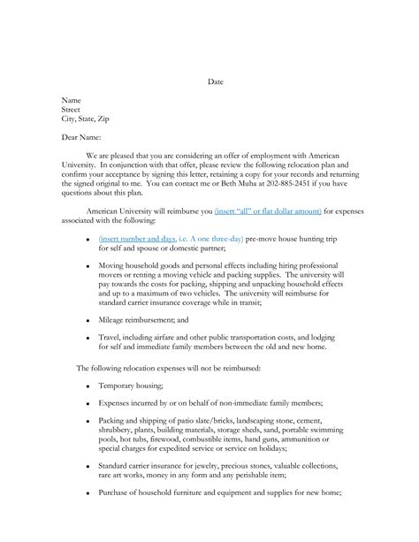 relocation agreement letter sample templates