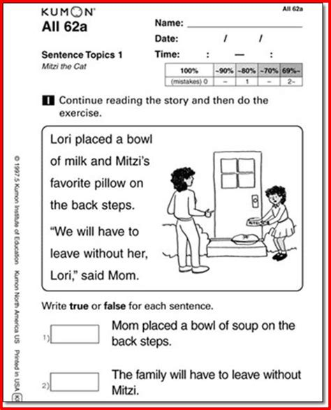 kumon reading worksheets for kindergarten