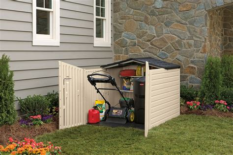 lawn tractor shed simple backyard storage with rubbermaid plastic slide lid 3685