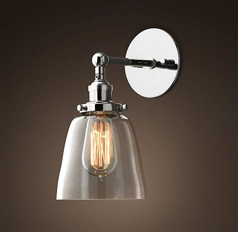 Polished Nickel Bathroom Lighting Fixtures by Glass Cloche Filament Sconce Polished Nickel Restoration