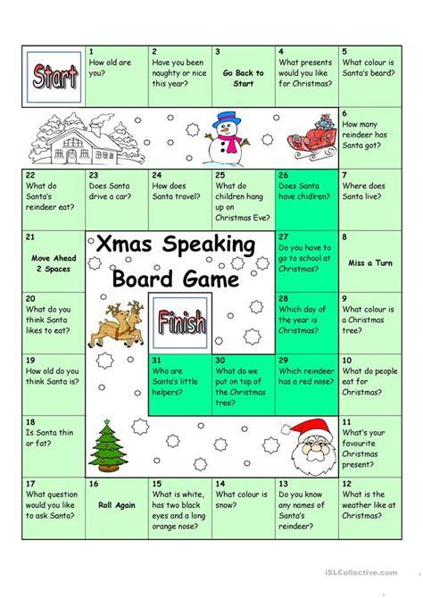 board game christmas santa worksheet  esl