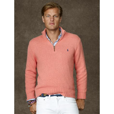 ralph polo sweaters polo ralph cotton half zip sweater in pink for