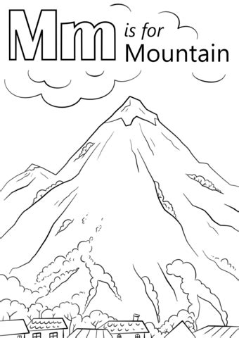 letter m is for mountain coloring page free printable 188 | letter m is for mountain coloring page