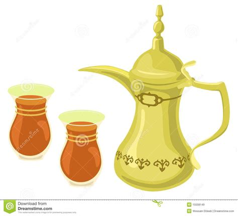 Arabian Golden Teapot & Tea Glasses Stock Vector   Image: 15558149