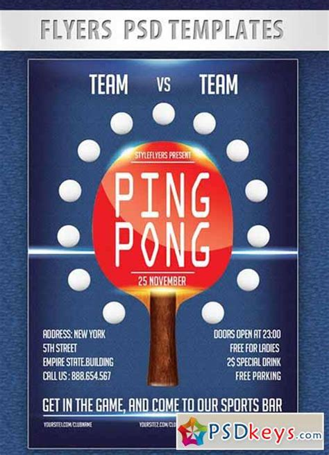ping pong flyer psd template facebook cover