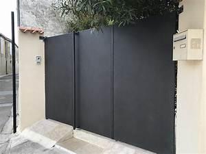 Portail Fer Forgé Plein : portail en fer plein 3 ouvrants dans le gard n mes avec ~ Dode.kayakingforconservation.com Idées de Décoration
