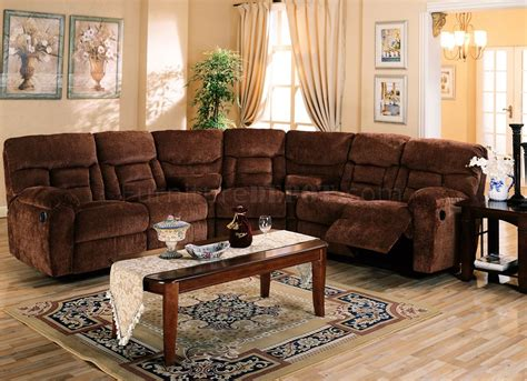 Recliner Sectional Sofas by Brown Chennile Fabric Sectional Sofa W Recliner Seat