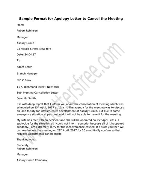 sample format  apology letter  cancel  meeting