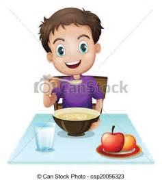 Boy Eating Breakfast Clip Art