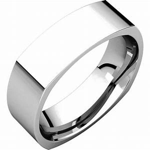 c131621w 14k white gold 6mm wide square mens wedding band With mens square wedding rings