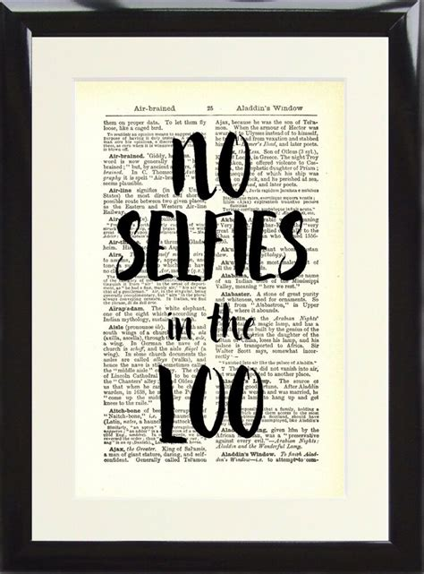 Rude Bathroom Signs by Vintage Dictionary Print Toilet Sign No Selfies In The